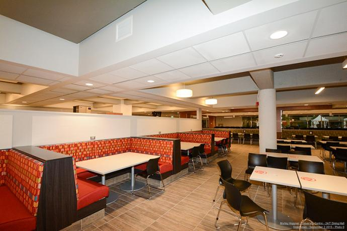Booth at the dining hall.